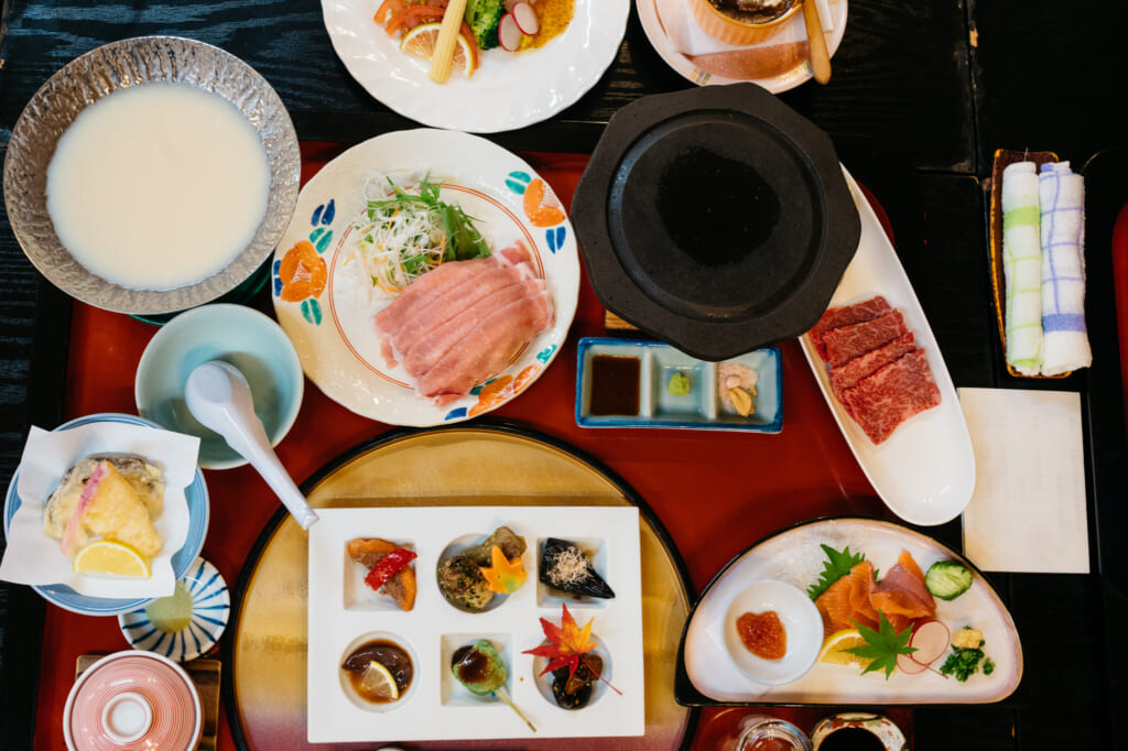 A full meal of traditional japanese dishes and cuisine served in usuki, Kyushu