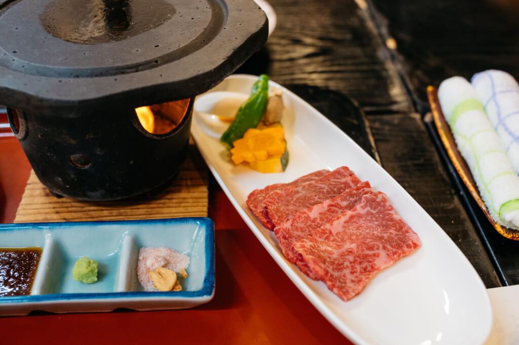 traditional japanese beef meal in usuki, kyushu