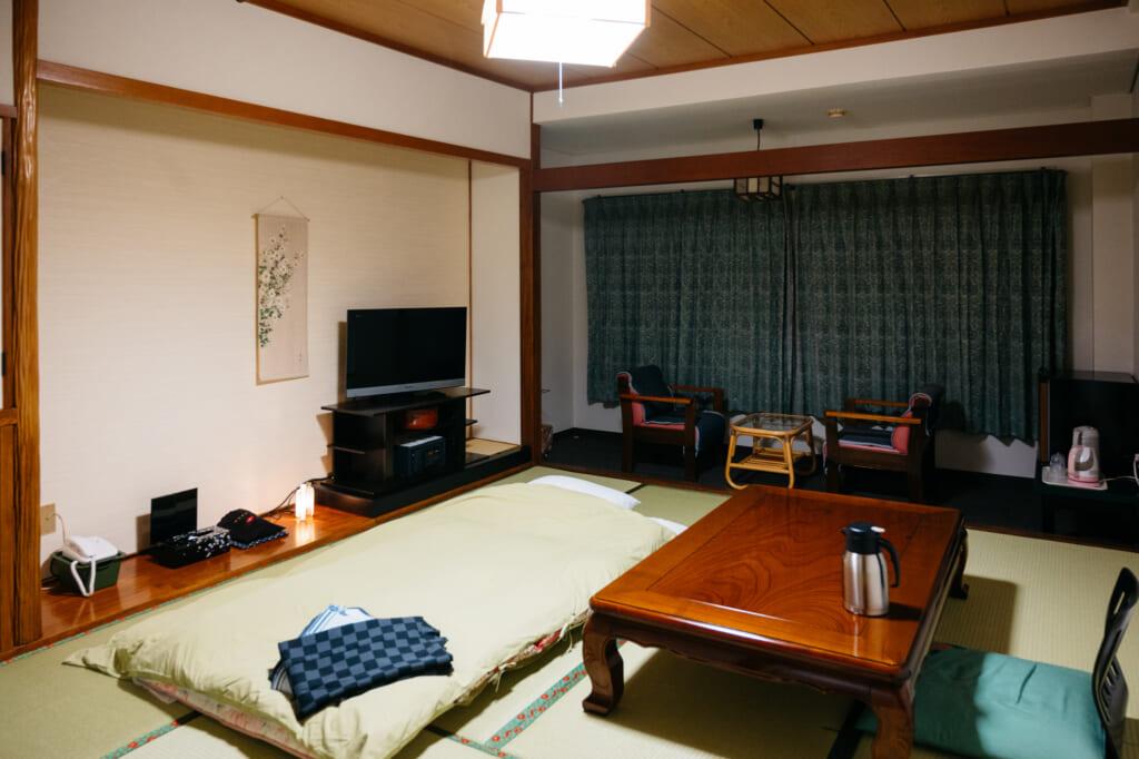 traditional Japanese room in ryokan in oita prefecture, kyushu