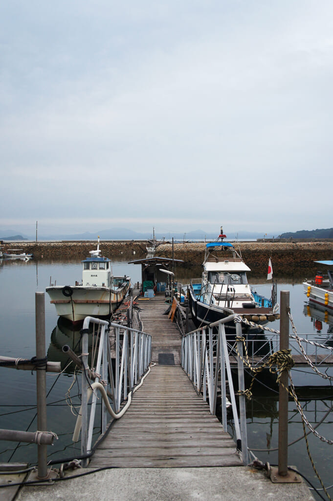 A jetty leading to boats from manabeshima, a cat island in Japan