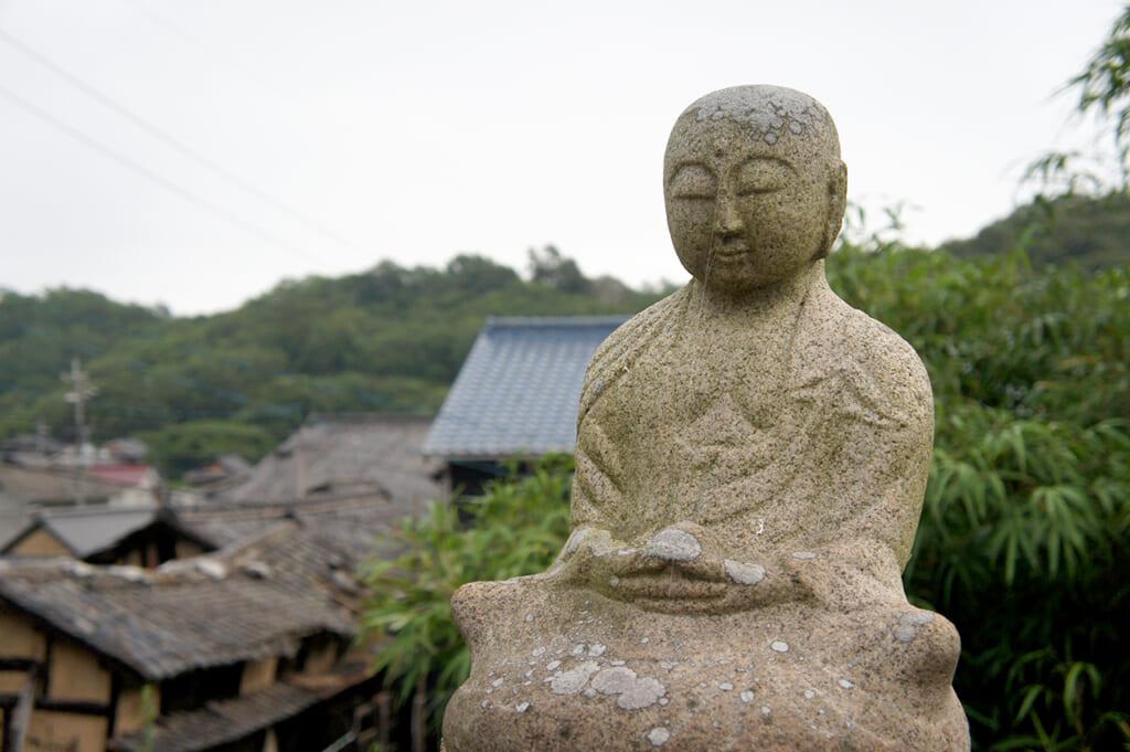 a Buddha made of stone