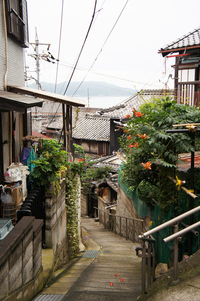 Steep residential street  on Manabeshima, a cat island in Japan