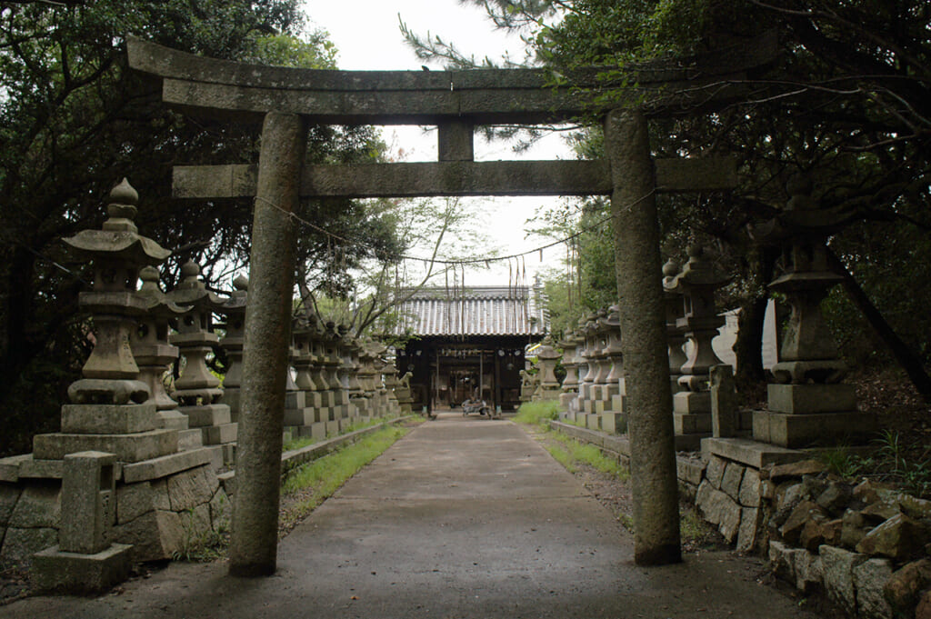 torii gate with stone lanterns