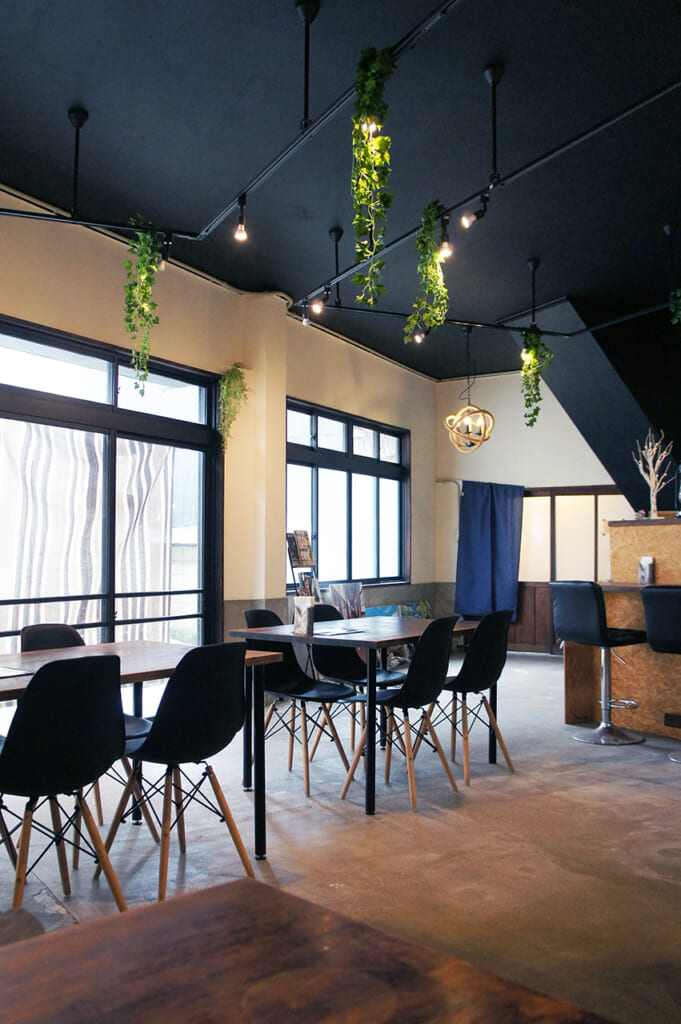 Inside a cafe in Manabeshima