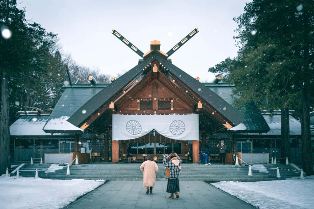 Christmas at A shrine under the snow in Sapporo, Hokkaido