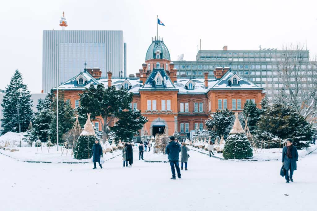 The Old Government Building of Sapporo, hokkaido, during Christmas