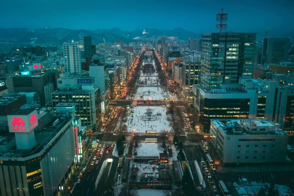 Odori Park from the top of Sapporo Tower