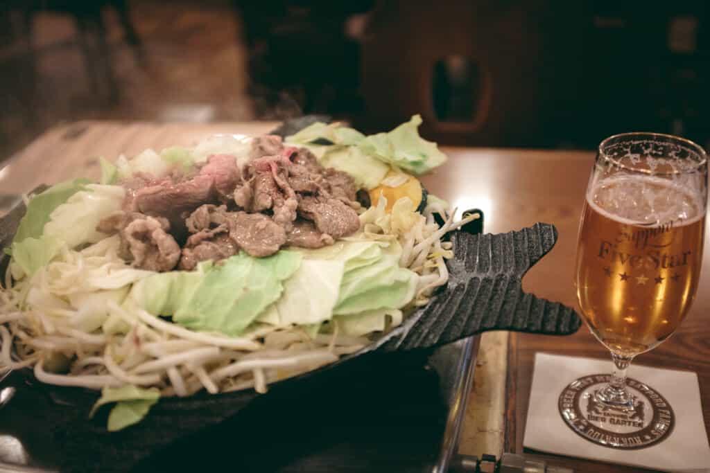 jingisukan, a lamb meat speacialty of Hokkaido