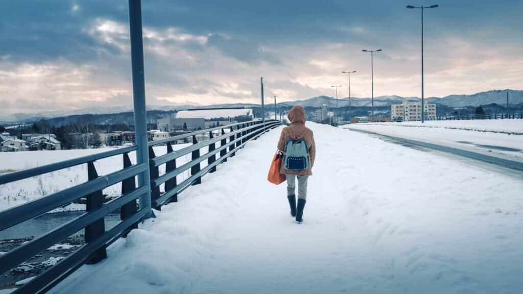 Snowy streets of Asahikawa, a city of Hokkaido