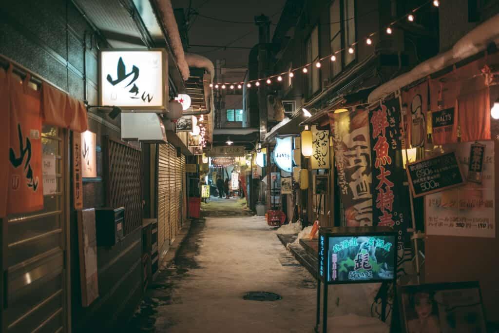 hokkaido alley street with snow