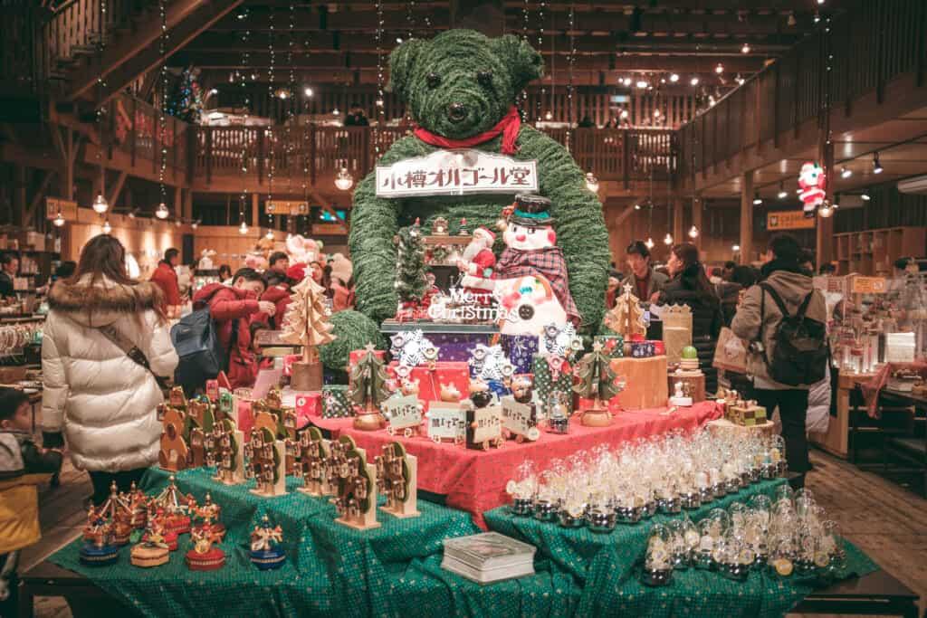 christmas decorations inside hokkaido store in japan