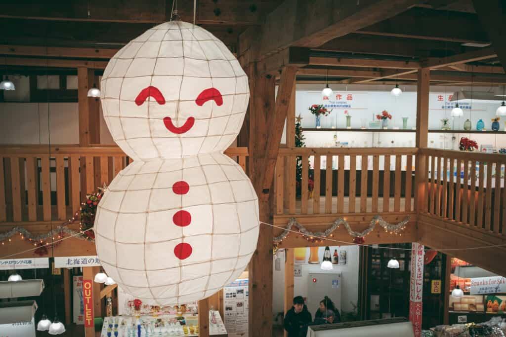 snowman latern in a shop at Otaru
