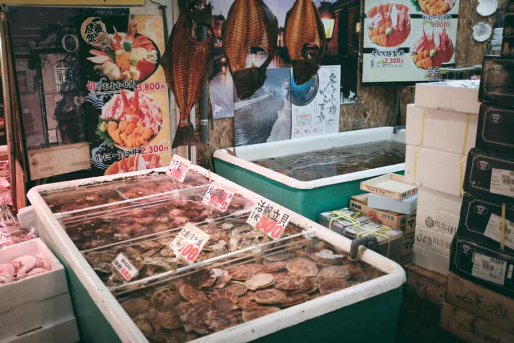 A fish market in Otaru, a small town of Hokkaido