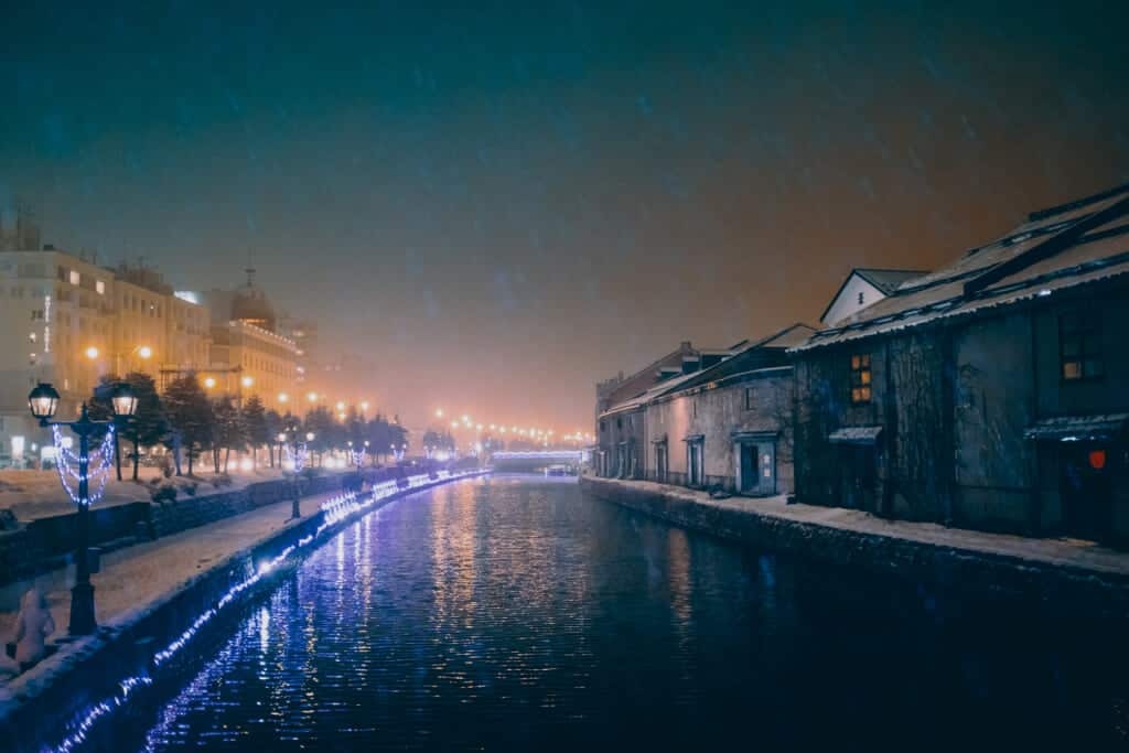 Otaru Canal during the night on Christmas Eve