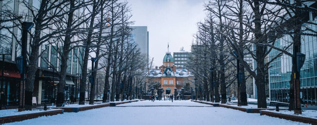 Panoramic view of the Old Hokkaido Government Building under the snow