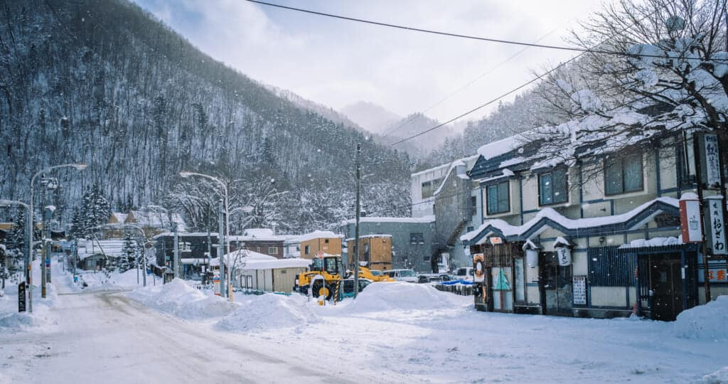 The streets of Jozankei under the snow