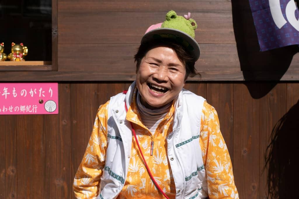 Smiling resident of Nagoro Village in Iya Valley, Tokushima, Shikoku