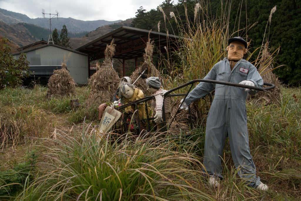 Working dolls in Japanese field in Nagoro Village, Iya Valley, Tokushima, Shikoku