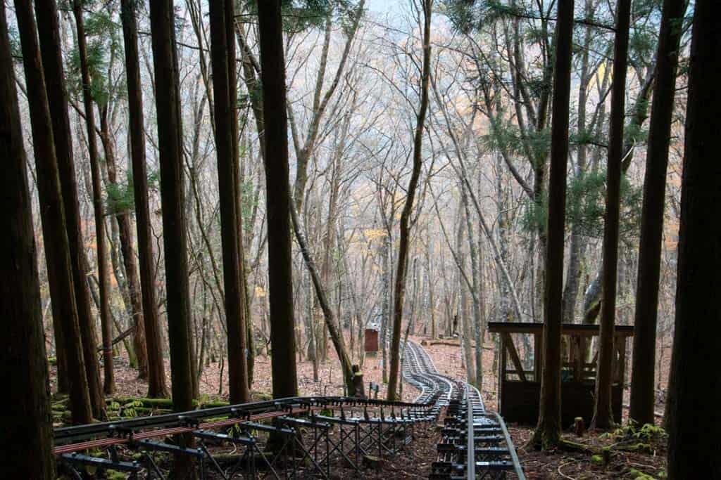 monorail ride through tokushima mountains in iya valley, shikoku