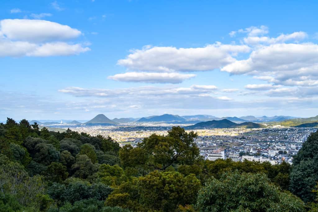 views of japanese kotohira town  on shikoku island