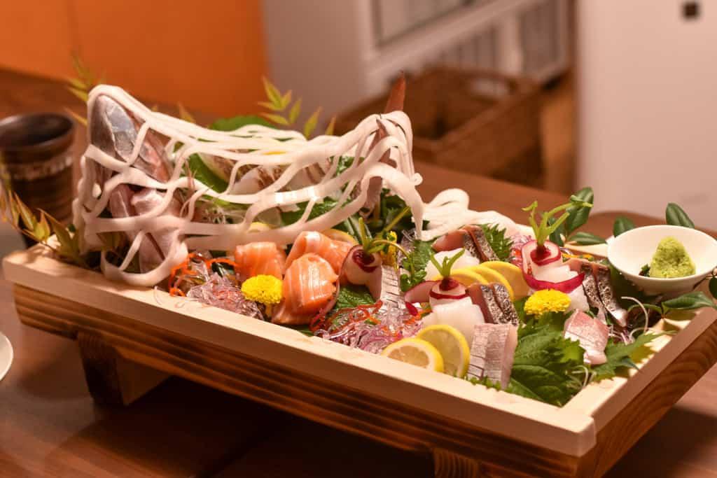traditional japanese sushi and sashimi