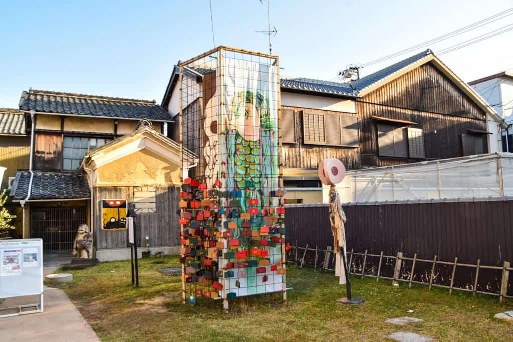outdoor art installation at Japanese yokai art museum  on Shodoshima, Shikoku island