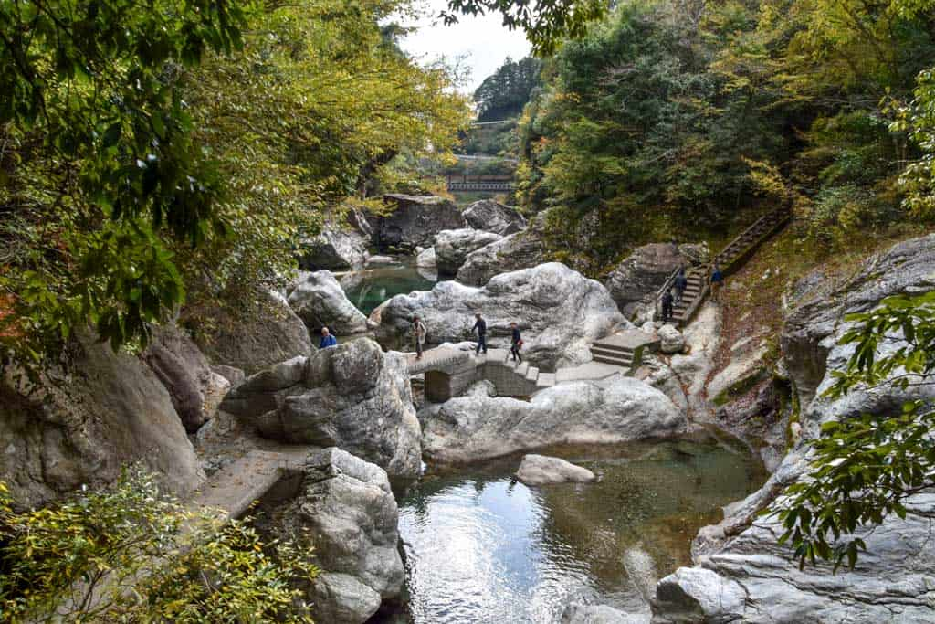 walking paths along japanese gorge in Yusuhara, Shikoku
