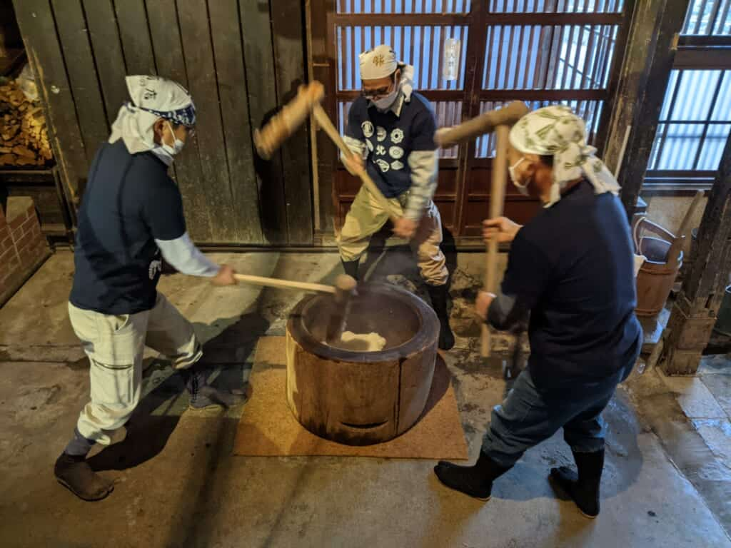 Northern Culture Museum in Niigata making mochi from rice