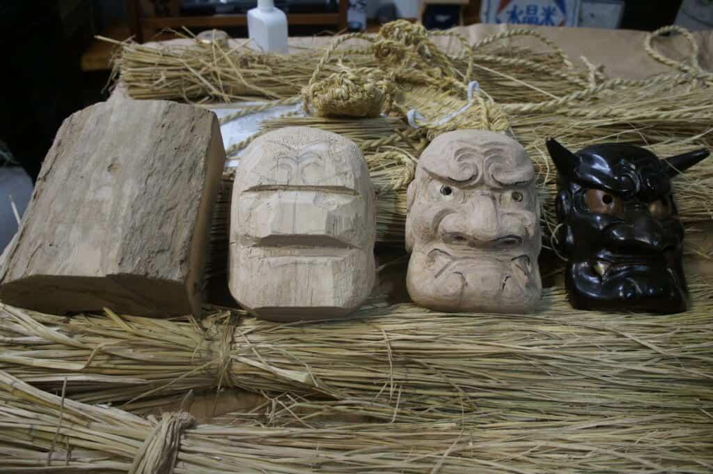 Sado Island traditional JApanese demon mask carving and painting