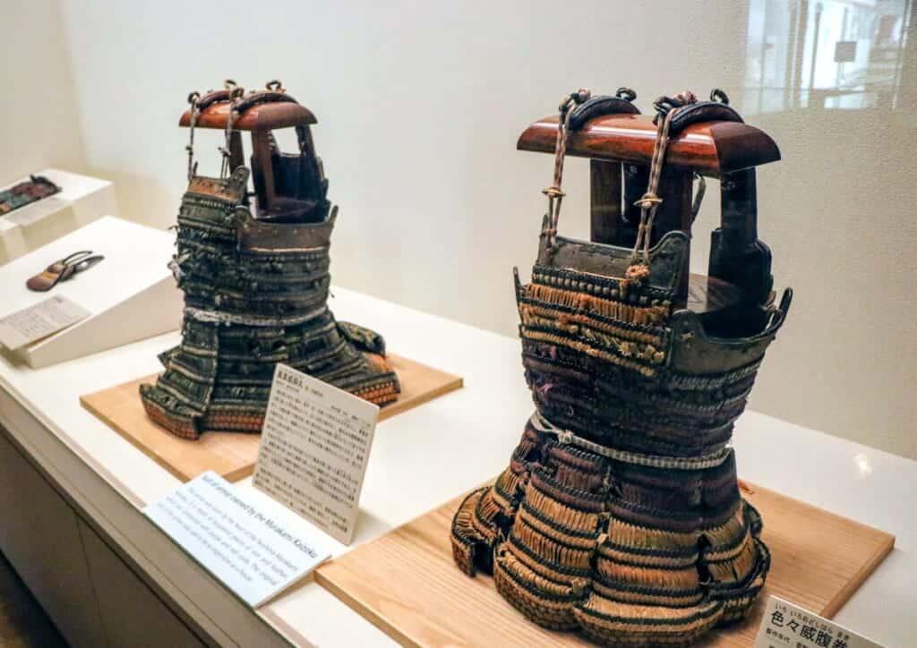 suits of samurai armor at Murakami Suigun