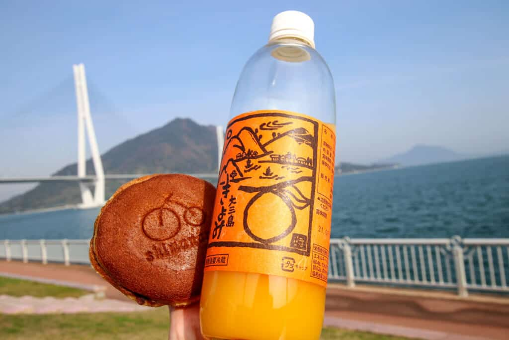 Shimanami Dorayaki and local mikan juice at Tatara Bridge