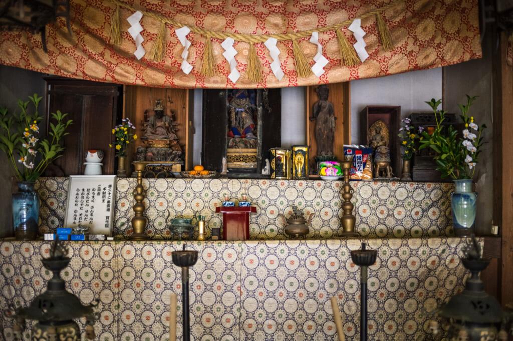 interior temple decorations on goto island