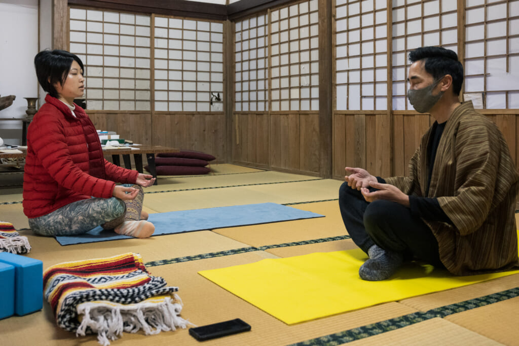 meditation in Japanese temple of goto island
