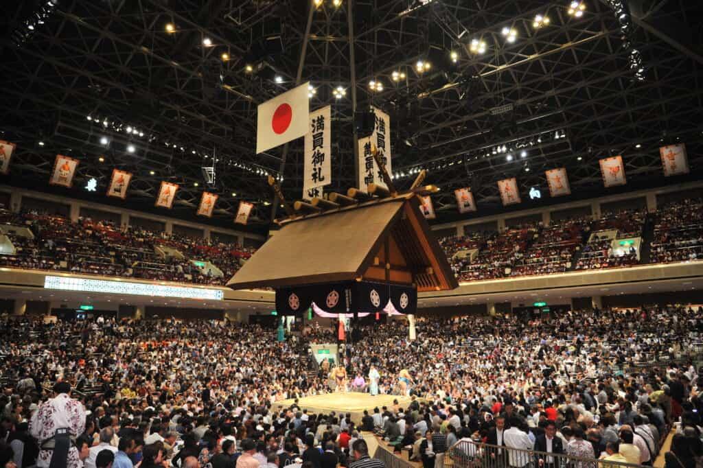 Ryogoku Kokugikan during sumo event in Japan