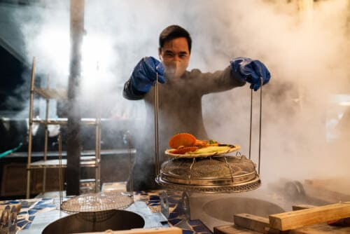 Trying onsen steamed vegetables and seafood in beppu
