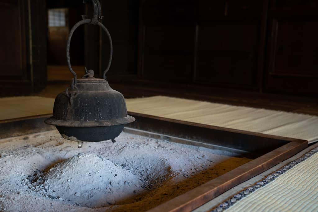 Japanese pot over irori in Gifu, Japan
