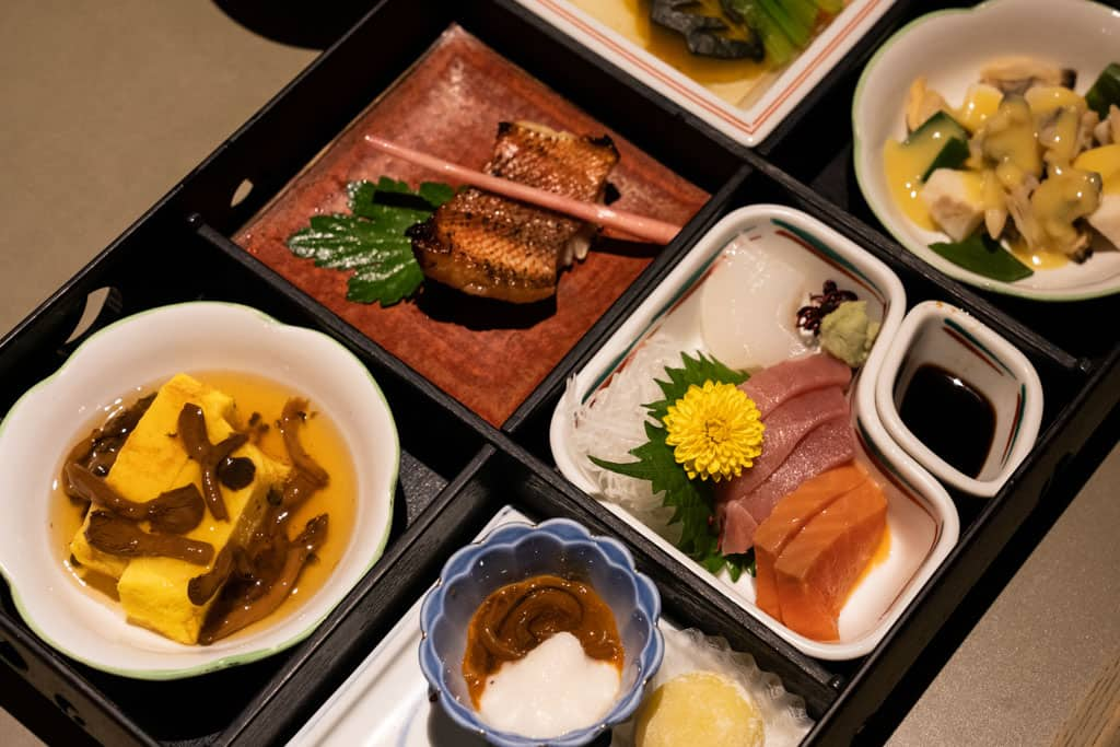 Traditional Japanese food at Nabana no Sato in Japan