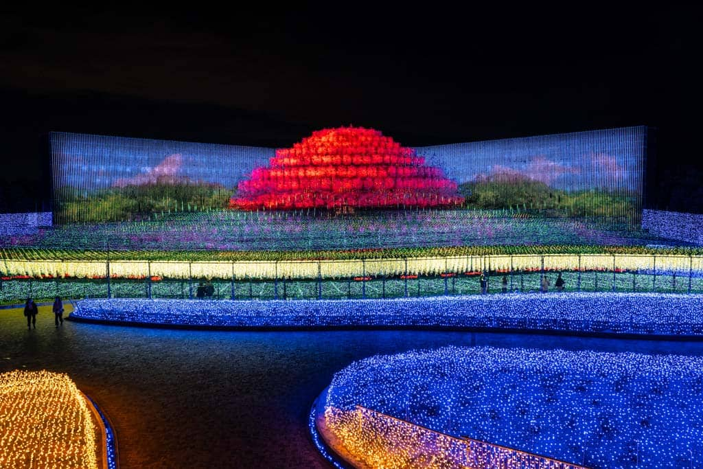 red mountain lights at Nabana no Sato in Japan