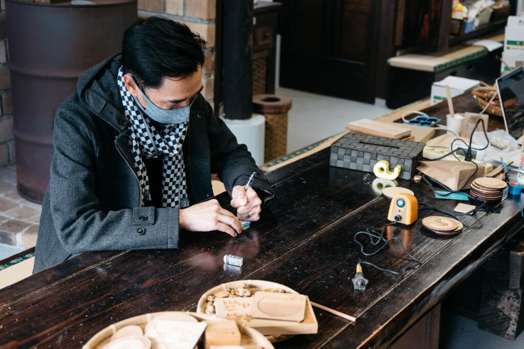 making wood crafts on goto islands
