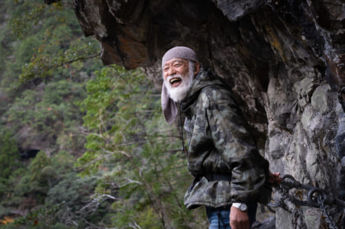 Mountain hermit laughing