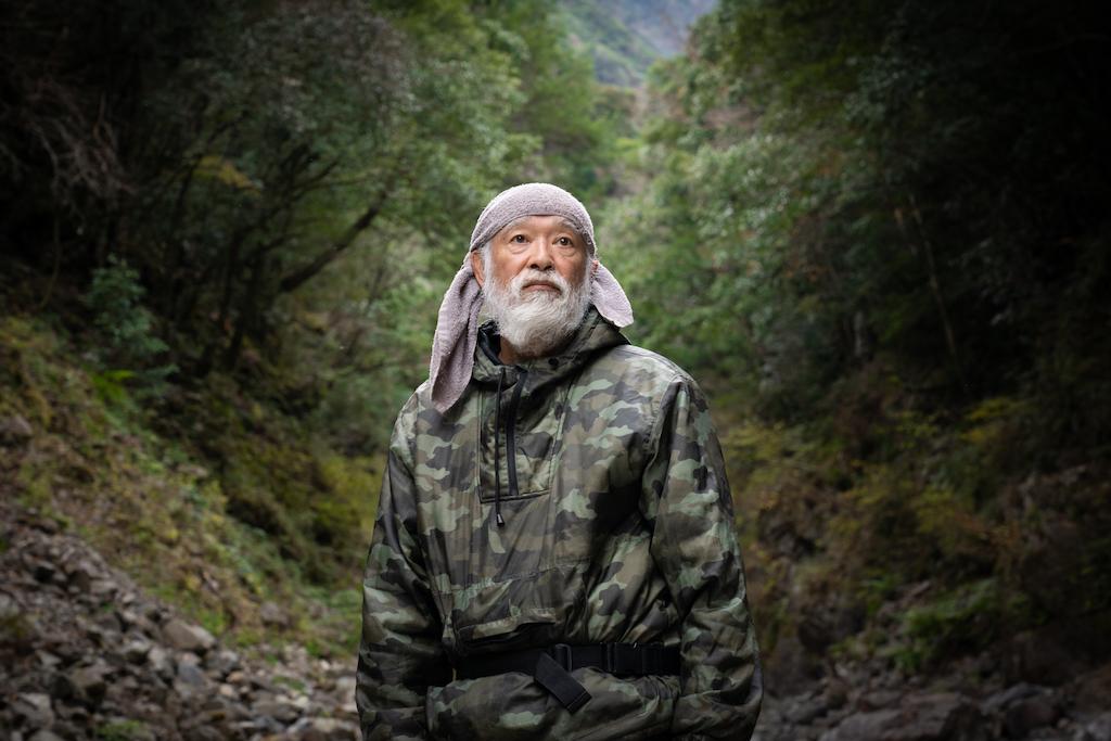 Mountain hermit in forest