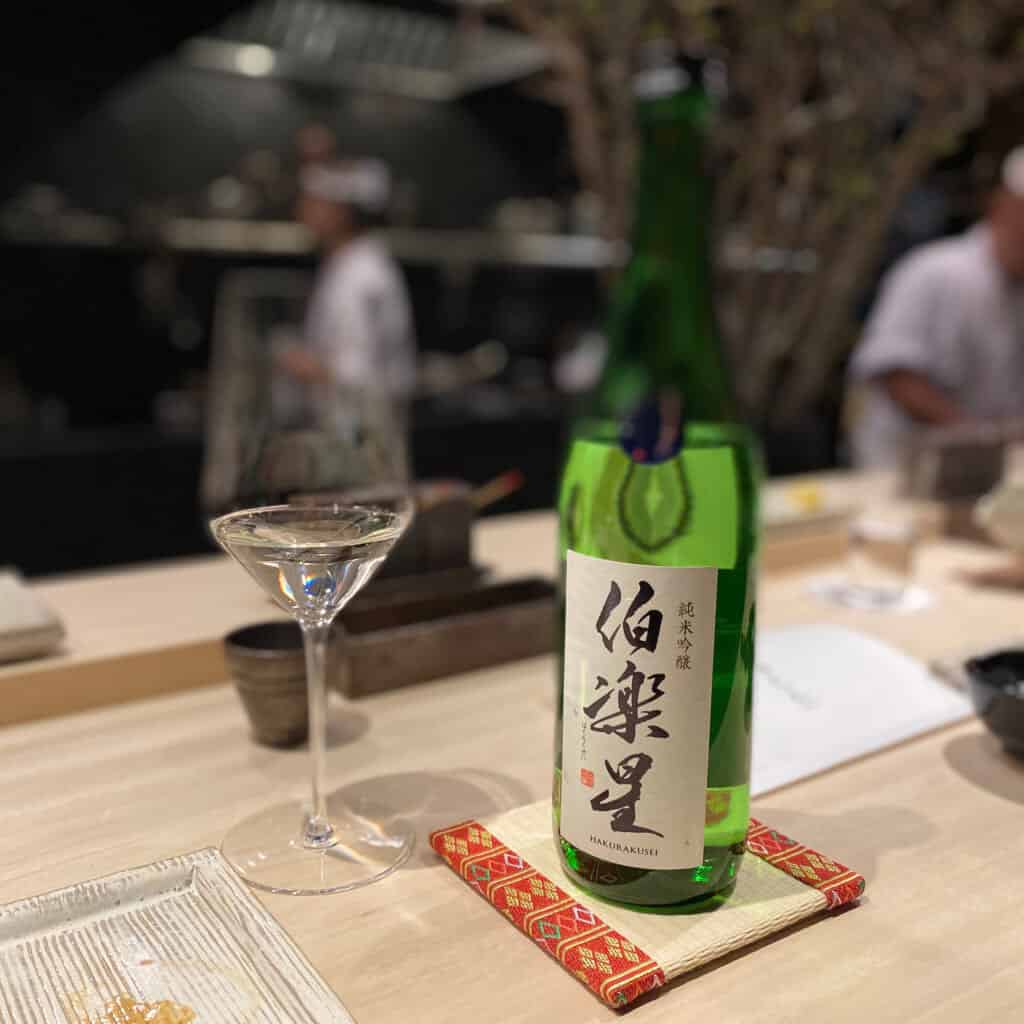 Japanese tatami coasters with sake