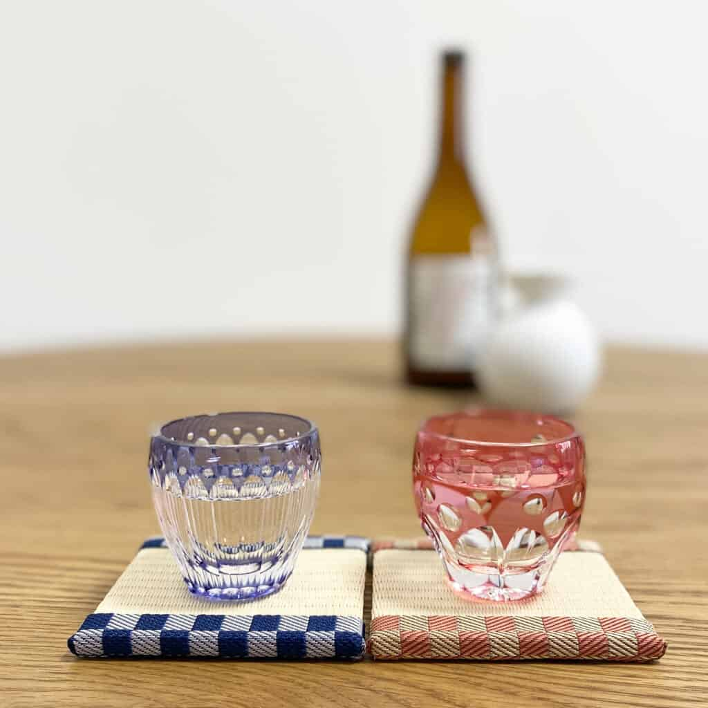 Japanese tatami coasters with Japanese cut class sake cups