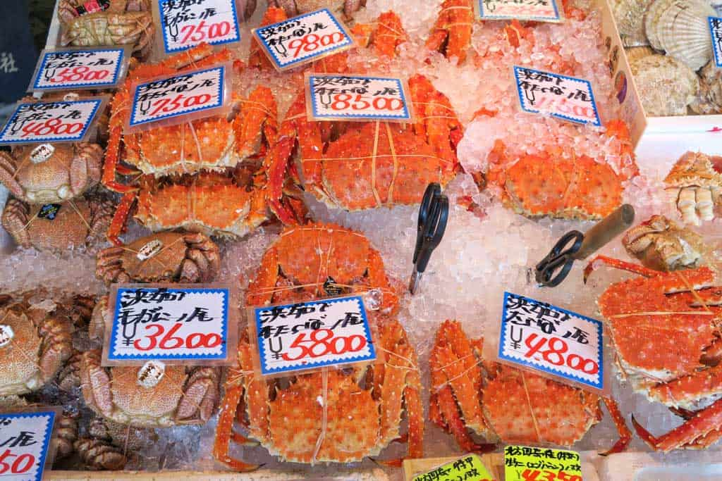 crabs at nijo market, sapporo, hokkaido
