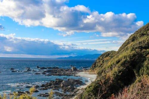 Cape Shionomisaki coastline and ocean view in Japan