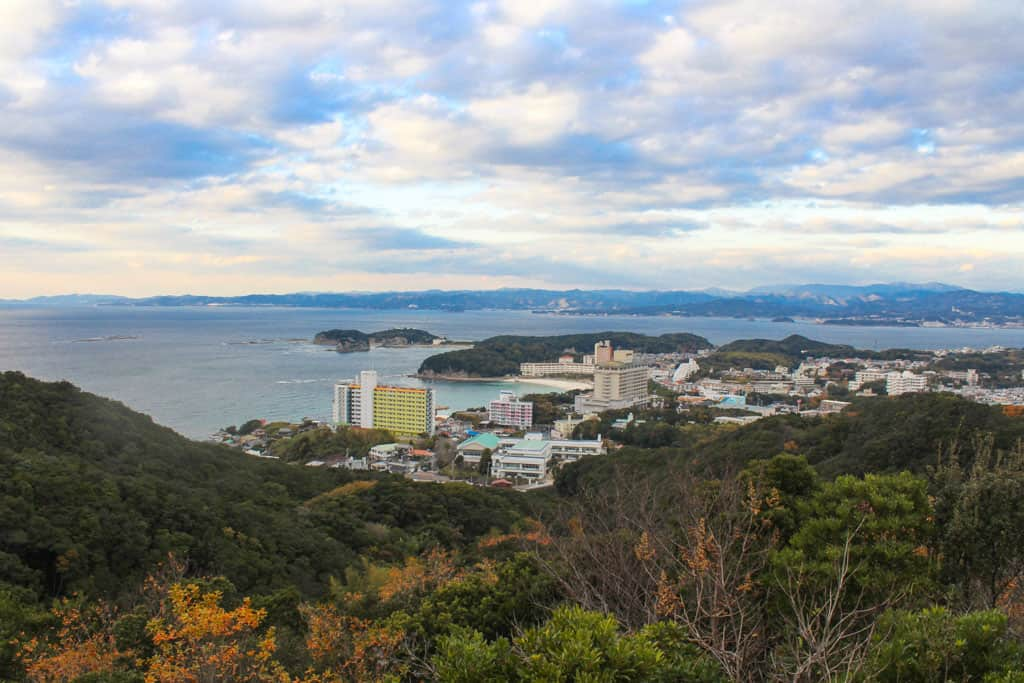 shirahama sky road overlooks Japanese coastline and city and accessed by cycling