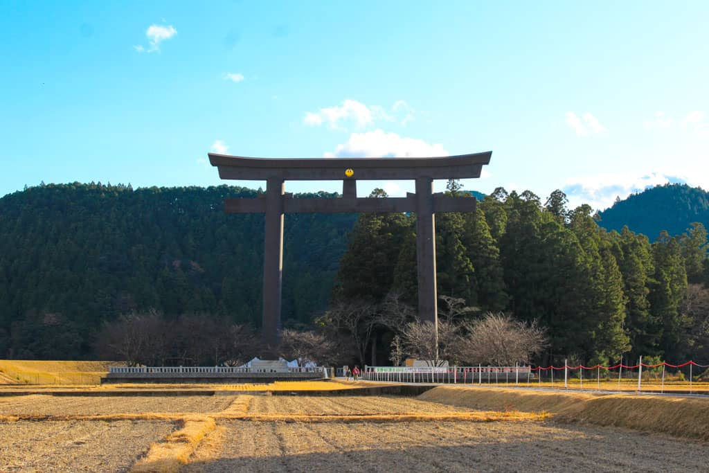 Oyu no Hara torii gate in japan along the kumano kodo