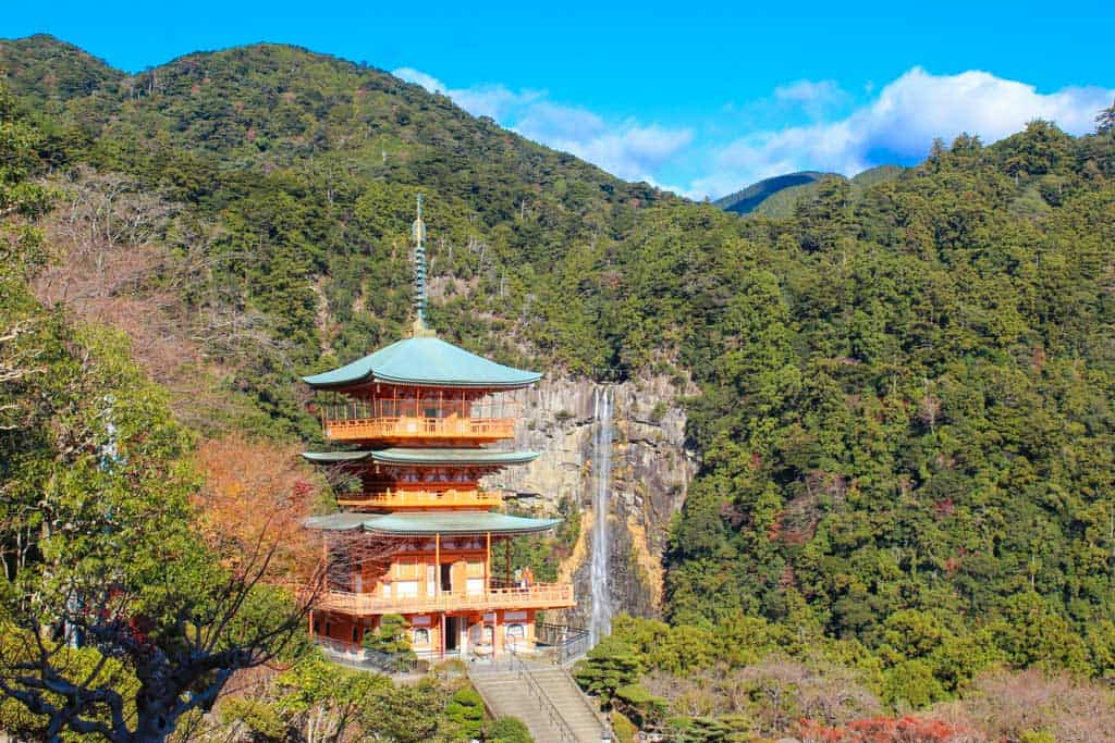 Kumano Nachi Taisha shrine with japanese waterfall in japan, along the kumano kodo
