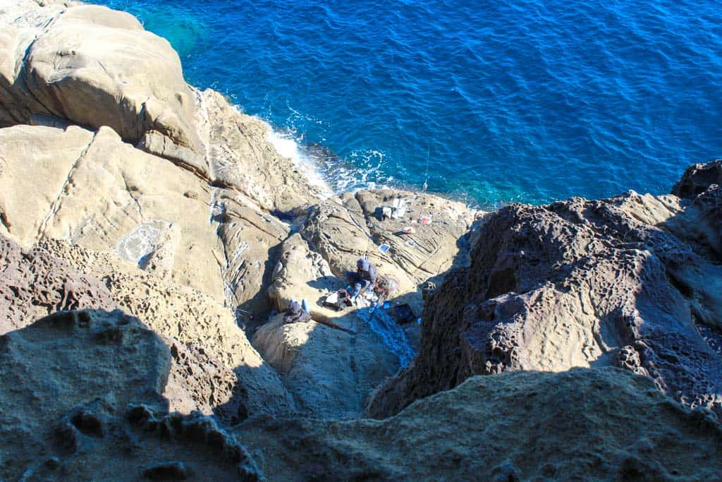 fisherman on Oniga-jo Rocks in japan