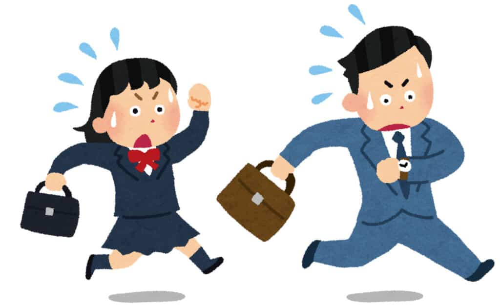 cartoon image of two Japanese employees running to work to get on time